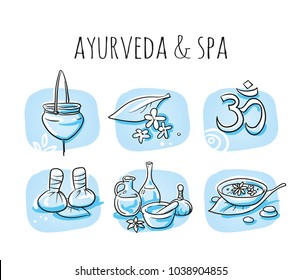 Icon item set ayurveda wellness, spa, with oil bottles, ingredients, water bowl, oil treatment. Hand drawn cartoon sketch vector illustration, marker style coloring on blue tiles.