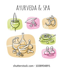 Icon item set ayurveda wellness, spa, with oil bottles, ingredients, water bowl, oil treatment. Hand drawn cartoon sketch vector illustration, marker style coloring  on tiles.