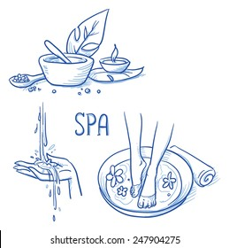 Icon item set wellness, spa, with foot bath, treatment cream and salt, leafs, candle, hand and water. Hand drawn doodle vector illustration.