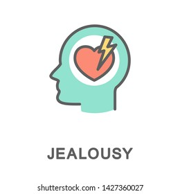 Icon jealousy. Jealousy is like a lightning strike in a person's heart. The thin contour lines with color fills.