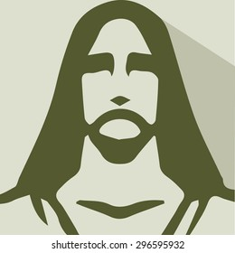 An icon of Jesus Christ. This icon is light brown or beige and an abstract representation f Christ./Jesus of Nazareth/An icon of Jesus Christ