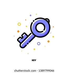 Icon of key which symbolizes strong password or keywords for SEO concept. Flat filled outline style. Pixel perfect 64x64. Editable stroke