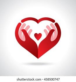 Symbol der Freundlichkeit und der Wohltätigkeit, der Hände und des Herzens.