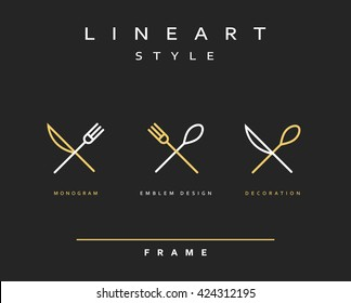 Icon knife, fork and spoon. Logo cutlery. Emblem line art  design