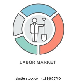 Icon – Labor market. The person with the shovel in the market diagram represents the workforce at a given time. The thin contour lines with color fills.