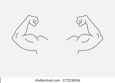 Icon of large, inflated biceps. Healthy lifestyle. EPS 10
