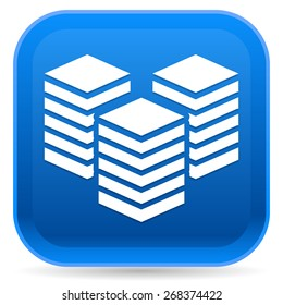 Icon with Layered Tower Symbol for Webhosting, Server, Database Concepts