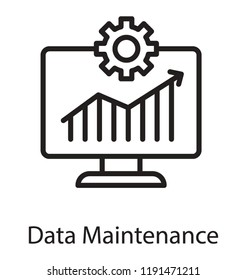 Icon of a lcd having bar chart depicting data maintenance