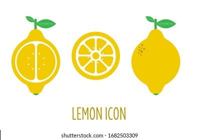 Icon of a lemon. Picture of a lemon slice. Geometric image.