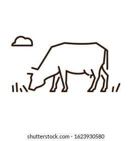 icon line cow eating grass