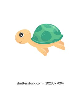 Icon of little swimming turtle. Adorable marine reptile. Cartoon character of underwater creature with green shell. Side view. Colorful flat vector illustration