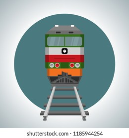 Icon of the locomotive. Front view. Vector illustration in flat style.