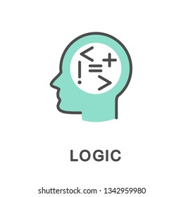 Icon logic. Symbols of logic in the head talk about the ability to reason. The thin contour lines with color fills.