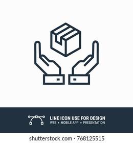 Icon logistic label hands holding box graphic design single icon vector illustration