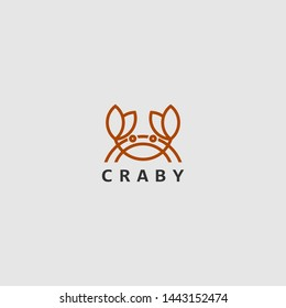 icon logo with animal concept, icon logo with line art crab