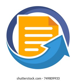 Icon logo for business administration of document / file management. Icon illustration for uploading documents.