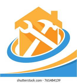 icon logo for the business of repair, renovation, home care services