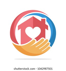 icon logo with the concept of social service about home care