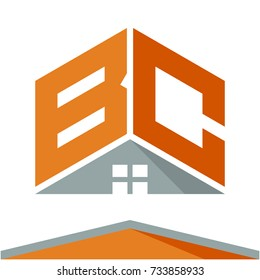 icon logo for construction business with the concept of roofs and combinations of letters B & C