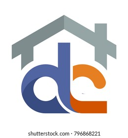 Icon logo for the construction services business development, with a combination of initials letter D & C