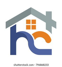 Icon logo for the construction services business development, with a combination of initials letter H & C