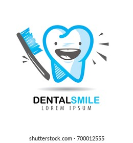 Icon or logo of the dental clinic. Cartoon tooth smiling with a toothbrush
