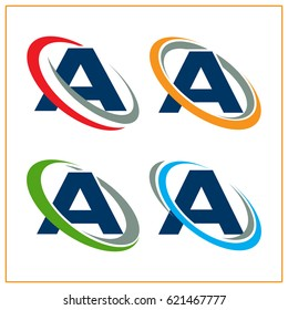 Icon logo initials letter A with concept around the rotating / orbiting