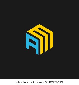 AM icon logo with letter a m vector