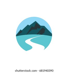 icon logo for road with blue landscape with mountain