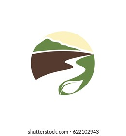 icon logo for road with green landscape