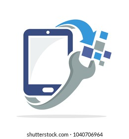 icon logo with smart phone repair concept