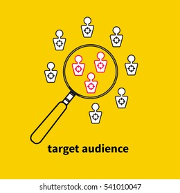 Icon, logo target audience. Vector magnifying glass and people targets. Market research