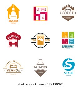 Icon or logo template for furniture shop, company, manufacturer. Symbol for corporate branding identity. Label inspiration for advertising, business, web design. Vector illustration.