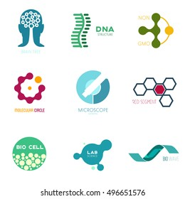 Icon or logo template for medicine, science, laboratory,. Mockup symbol for corporate branding identity. Technology label inspiration for advertising, business, web design. Vector illustration.
