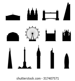 Icon London set silhouette.bridge, big ben, museum, pinnacle, royal albert, St Paul's, The Shard, the gherkin, tower of london, Trafalgar Square, Westminster