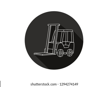 icon of a long shadow forklift, icon of a forklift with modern line art style, forklift vector illustration, icon of a forklift