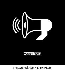 Icon loudspeaker or megaphone graphic design. Stock vector illustration flat design style isolated on black background