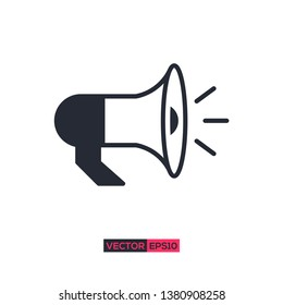 Icon loudspeaker or megaphone graphic design. Stock vector illustration flat design style isolated on white background