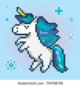 icon of the magic unicorn, pixel art