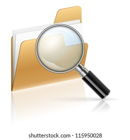 Icon - Magnifying Glass and Folder with Sheets of Paper, Search Concept, isolated on white
