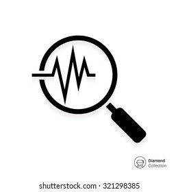 Icon of magnifying glass on electrocardiogram