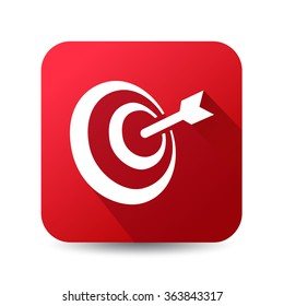 Icon for main objective, target vector icon, red button