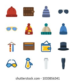 icon Man Accessories with tie, trousers, top hat, winter hat and sunglasses