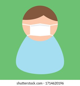 Icon with a  man in a medical mask. Stay healthy, wear masks, and protect yourself from the coronavirus. Color vector illustration