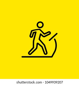 Icon of man on treadmill. Cardio, running machine, gym. Activity concept. Can be used for topics like sport, fitness, healthy lifestyle.