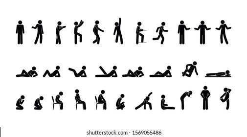 icon man, people stand, sit, lie, stick figure people illustration, isolated human silhouettes
