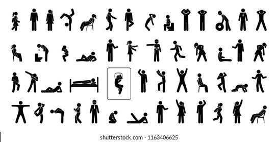 icon man, set of pictograms people, stick figure isolated human silhouettes, man stands, sits, lies, runs, various situations and postures, gestures and movements