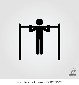 Icon of man silhouette doing pull-up