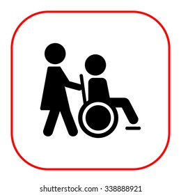 Icon of man silhouette in  wheelchair being assisted by nurse