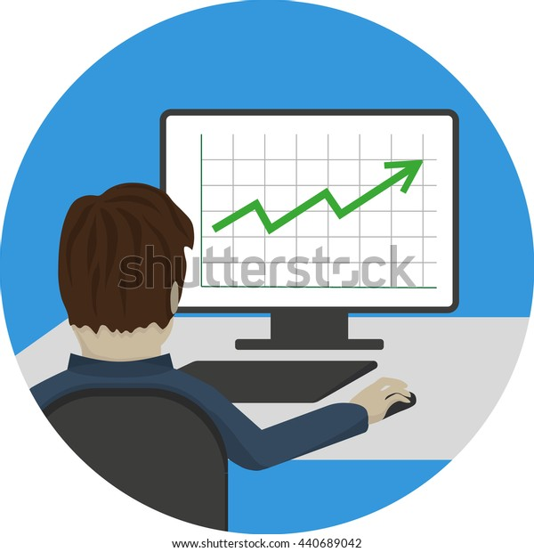 Icon man sitting at a computer with his back to us and studied graphic growth